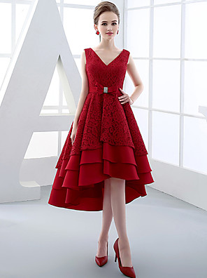 Cocktail Party Dress Ball Gown V-neck Asymmetrical Lace / Satin with Bow(s) / Lace / Sash / Ribbon