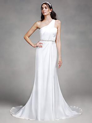 시스 / 칼럼 웨딩 드레스 코트 트레인 원 숄더 새틴 와 비즈
