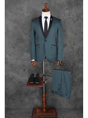 Obleky Na míru Šálový límec Jednořadé s jedním knoflíkem Polyester Jednobarevné 2 ks Modrá Šikmé s klopou Žádný (rovné nohavice) Modrá