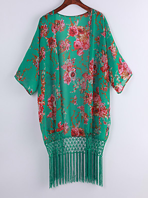 Vrouwen Sexy Zomer Blouse,Strand Print Mouwloos Groen Polyester Dun