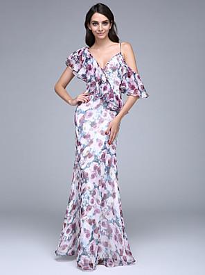 ערב רישמי שמלה מעטפת \ עמוד צווארון וי עד הריצפה שיפון עם כפתורים / קפלים