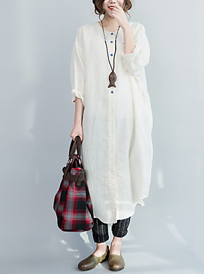 Women's Going out / Casual/Daily Vintage / Simple Spring / Fall Shirt,Solid / Print / Linen