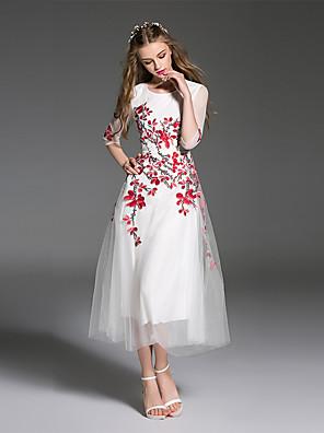 es Dannuo נשים לצאת פשוט שמלה קו, MIDI צוואר עגול רקום ½ שרוול באורך הקיץ פוליאסטר לבן