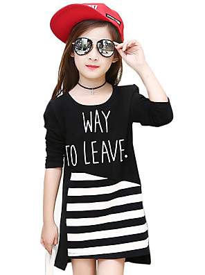 Girl's Cotton Spring/Autumn Fashion Cartoon Stripes Patchwork Round Neck Long Sleeve T Shirt Skirt