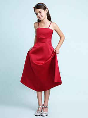 Lanting Bride® Ke kolenům Satén Šaty pro malou družičku A-Linie / Princess Špagetová ramínka Přirozený s Volánky / Šerpa / Stuha