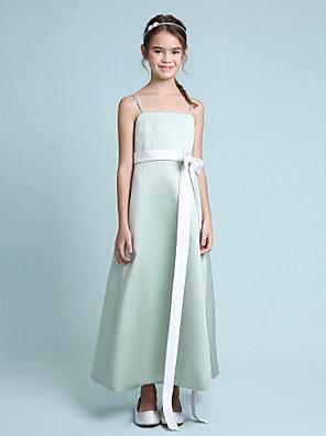 Lanting Bride® K lýtkům Elastický satén Šaty pro malou družičku A-Linie / Princess Špagetová ramínka Přirozený s Mašle / Šerpa / Stuha