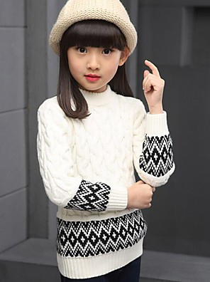 Girl's Casual/Daily Print Sweater & Cardigan,Cotton Spring / Fall Brown / White