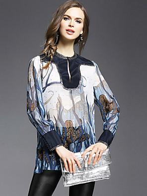 JOJO HANS  Women's Going out Vintage Spring Shirt,Print Round Neck Long Sleeve Blue Silk Opaque