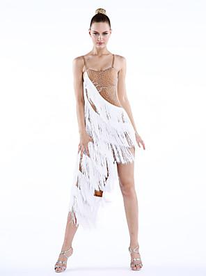 ריקוד לטיני שמלות בגדי ריקוד נשים ביצועים ספנדקס קריסטלים / rhinestones / גדיל (ים) חלק 1 בלי שרוולים טבעי שמלותS:126cm M:128cm L:130cm