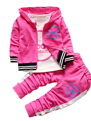Girl's Casual/Daily Print Clothing Set,Cotton Fall Green / Pink / Purple / Red