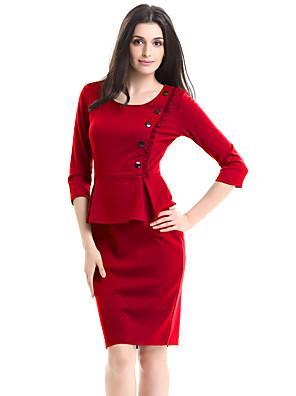 Mulheres Bandagem Vestido,Casual / Trabalho / Tamanhos Grandes Vintage Sólido Decote Redondo Acima do Joelho Manga ¾ Vermelho / Roxo