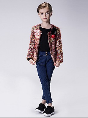 Girl's Casual/Daily Print Suit & Blazer,Polyester Winter / Fall Green / Pink / Red
