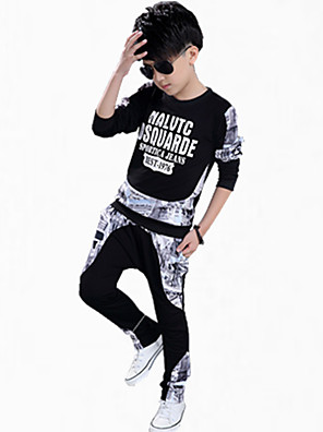 סט של בגדים יום יומי\קז'ואל דפוס כותנה כל העונות / אביב / סתיו שחור / לבן הילד של