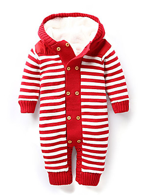 Baby Casual/Daily Striped Overall & Jumpsuit,Cotton Winter Blue / Brown / Red