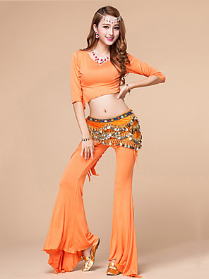 Dança do Ventre Roupa Mulheres Treino Modal Franzido 2 Peças Meia manga Natural Calças / Top Top One Size:54cm,Pant One Size:96cm