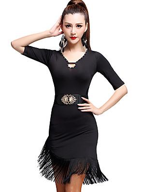 ריקוד לטיני שמלות בגדי ריקוד נשים אימון מילק פייבר גדיל (ים) חלק 1 חצי שרוול גבוה שמלות M:71CM,L:72CM,XL:73CM,XXL:74CM,XXXL:75CM