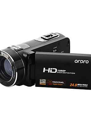 "ordro® HDV-z8plus 1080p Full HD de vídeo digital da câmera tela TFT Sony sensor de 8MP 16x zoom digital 3 ""toque"