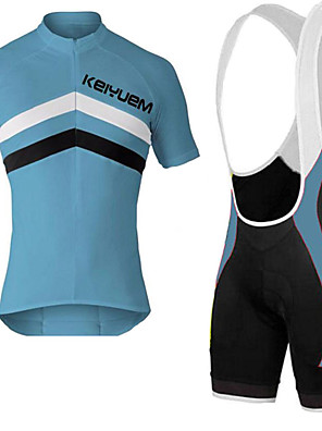 KEIYUEM® חולצת ג'רסי ומכנס קצר ביב לרכיבה יוניסקס שרוול קצר אופנייםנושם / ייבוש מהיר / עמיד לאבק / לביש / כיס אחורי / נמתח / תומך זיעה /