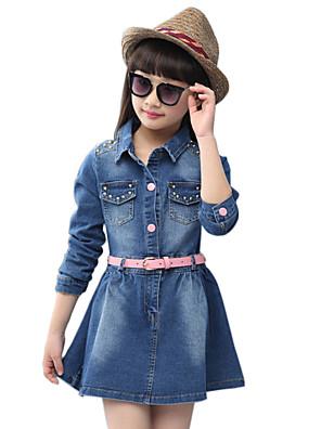 שמלה / ג'ינס יום יומי\קז'ואל אחיד כותנה סתיו / אביב כחול הילדה של