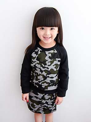 Girl's Cotton Spring/Autumn Camouflage Clothing Set Blouse And Skirt Two-piece Dress