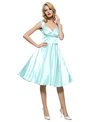 Mulheres Bainha / Swing Vestido,Happy-Hour / Formal / Festa/Coquetel Vintage Sólido Decote Princesa Altura dos Joelhos Sem MangaVermelho