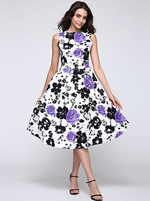 dámské vintage kulatý výstřih květina šaty, bavlna / spandex / elastický červená / černá / purple casual / párty