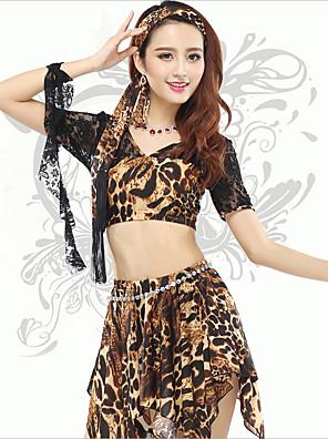 Dança do Ventre Blusas Mulheres Treino Elastano Leopardo 1 Peça Manga Curta Natural Top 32cm