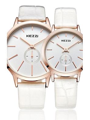 Voor Stel Modieus horloge Japanse quartz / Leer Band Vrijetijdsschoenen Zwart / Wit / Bruin Merk