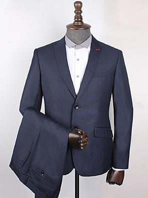 2017 ternos padrão de ajuste pico único breasted de dois botões quadriculada poliéster / gingham 2 peças azul escuro inclinado