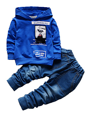 Boy's Casual/Daily Print Clothing Set,Cotton Fall Blue / Green / Orange / Pink
