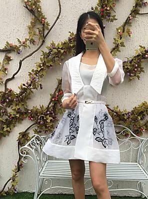 Dame Sofistikerede I-byen-tøj Skede Kjole Blomstret,Stropløs Over knæet 3/4 ærmelængde Hvid / Sort Rayon / Spandex Sommer Højtaljede
