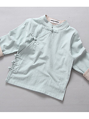 Girl's Casual/Daily Solid BlouseCotton Spring / Fall Blue / Green / Pink