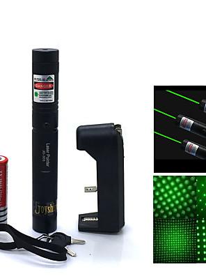 verstelbare laserpointers pen jd303 hoog vermogen groene straal (5 MW, 532nm, 1x18650 batterij + lader) zwart