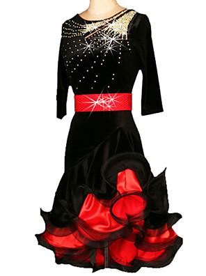 Dança Latina Vestidos Mulheres Actuação / Treino Náilon Chinês / Veludo Cristal/Strass / Franzido 2 Peças Meia manga Cinto / Vestidos