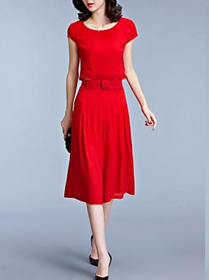 פוליאסטר מידי צווארון עגול אחיד שמלה שיפון / שני חלקים וינטאג' / פשוטה נשים
