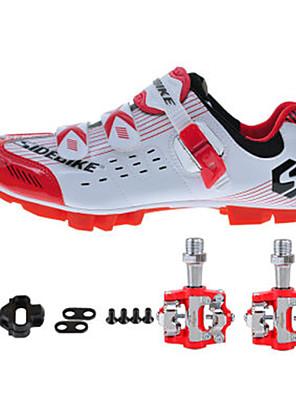 sidebike Sapatos para Ciclismo Unisexo Ao ar Livre / Bicicleta de Estrada Tênis Húmido / Almofadado Branco / Vermelho