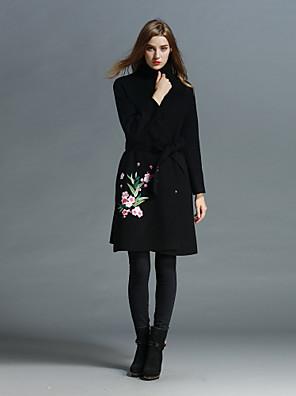 Dames Chinoiserie Herfst / Winter Jas,Uitgaan Sjaalrevers-Lange mouw Zwart Geborduurd Medium Wol