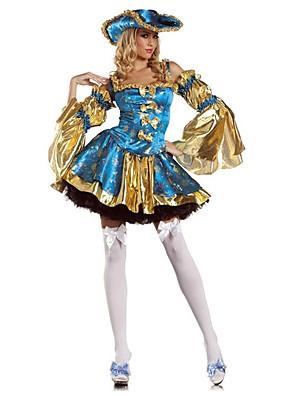 תחפושות קוספליי / תחפושת למסיבה פיראט פסטיבל/חג תחפושות ליל כל הקדושים כחול דפוס שמלה / עוד אביזרים / לבוש ראש / צמידהאלווין (ליל כל