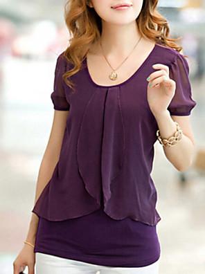 Women's Casual Micro-elastic Short Sleeve Regular Blouse (Chiffon/Cotton Blends)