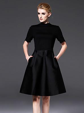 השחורה הקטן הרשמי של נשי frmz פשוט צוואר צוות dresssolid מעל / סטרץ כותנה / ניילון שחור עם שרוולים קצרים ברך
