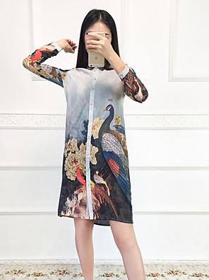 Dame Vintage I-byen-tøj Løstsiddende Kjole Blomstret / Dyretryk,Krave Over knæet Langærmet Blå Silke Sommer Alm. taljede Mikroelastisk