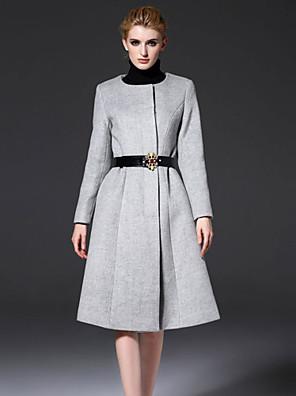 Dames Vintage Herfst / Winter Jas,Uitgaan Ronde hals-Lange mouw Zwart / Grijs Effen Medium Wol / Polyester