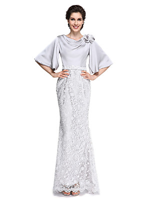 2017 לנטינג אמא חצוצרה / בת הים bride® של שמלת כלה - שרוול תחרה חצי אלגנטי באורך הקרסול / שיפון סאטן