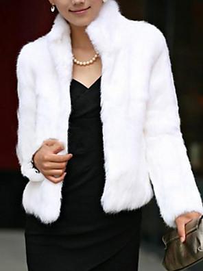 Feminino Casaco de Pêlo Simples Inverno,Sólido Pêlo SintéticoManga Longa