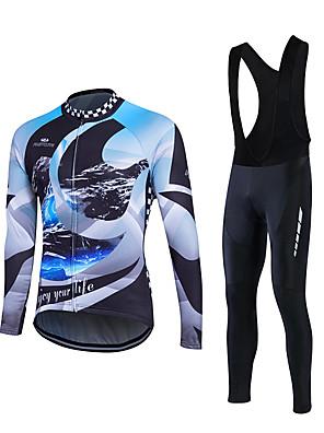 Fastcute® חולצת ג'רסי וטייץ ביב לרכיבה לגברים שרוול ארוך אופניים נושם / חומרים קלים / 3D לוח / כיס אחורי / תומך זיעה / נוח מדים בסטים