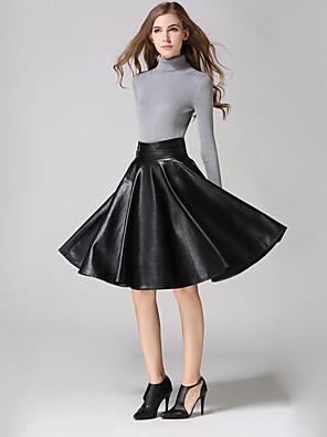 Damen Röcke - Einfach Knielang PU Mikro-elastisch