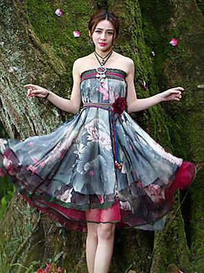 Polyester-Micro-elastisch-Vintage-Tot de knie-Vrouwen-Rokken