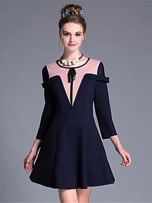 aufoli kvinder tøj stor størrelse mode enkel vintage bue geometri farve blok 3 / ærme kjole