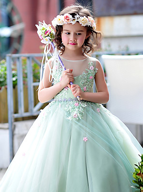 Plesové šaty Na zem Šaty pro květinovou družičku - Tyl / Charmeuse Bez rukávů Klenot s Korálky / Květina(y) / Krajka