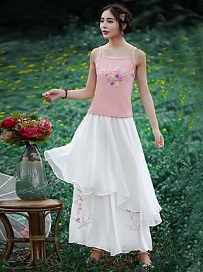 Dámské Čínské vzory Široké nohavice Polyester Neelastické Kalhoty